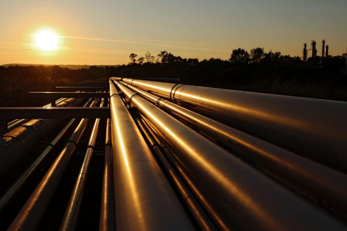 Oil Pipeline at Sunset