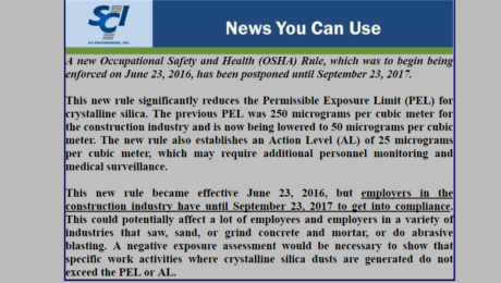 SCI News You Can Use: New OSHA Rule Enforcement Date Postponed